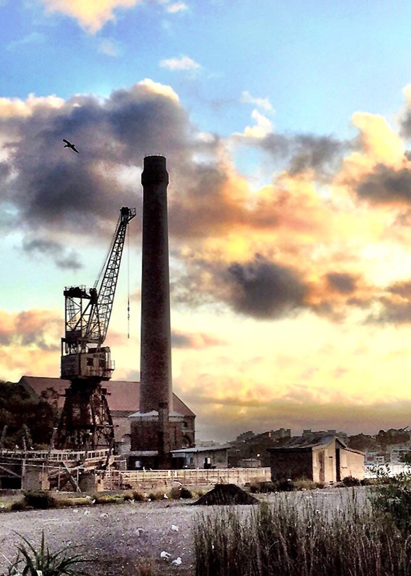 Sunset over Cockatoo Island's Industrial landscape
