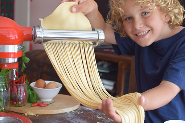 Raffles first attempt at fresh pasta using the KitchenAid Mini