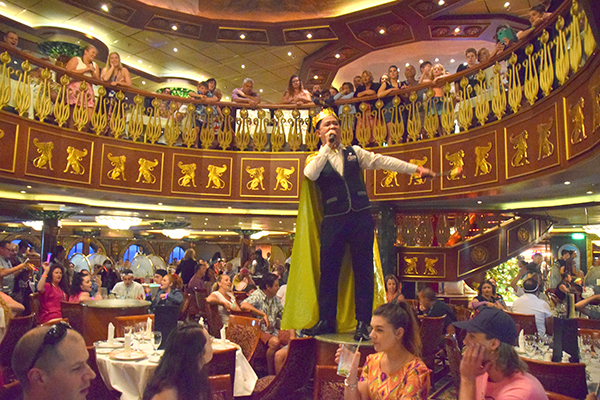 SInging waiters at Empire Dining Room: Carnival Spirit by kids
