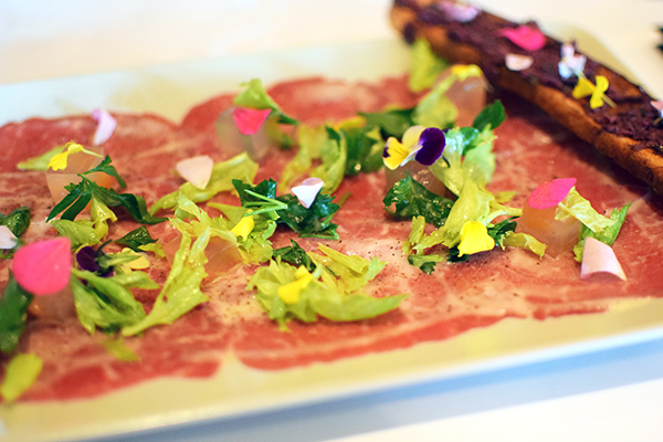 Beef carpaccio at Palette Dining Katoomba