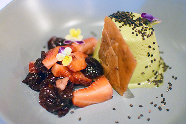matcha panacotta at Palette Dining