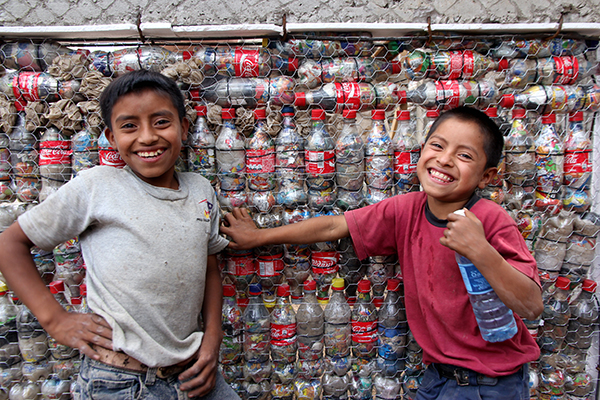Kids at one of the BOttle Schools built by volunteers with DreamTrips