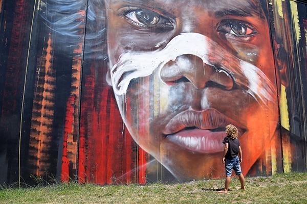 Steet art by Adnate in Newcastle NSW
