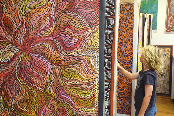 Perusing the artworks at Waradah Aboriginal Centre Katoomba