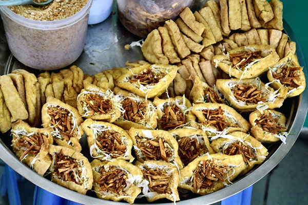 Bean curd based street snacks Yangon