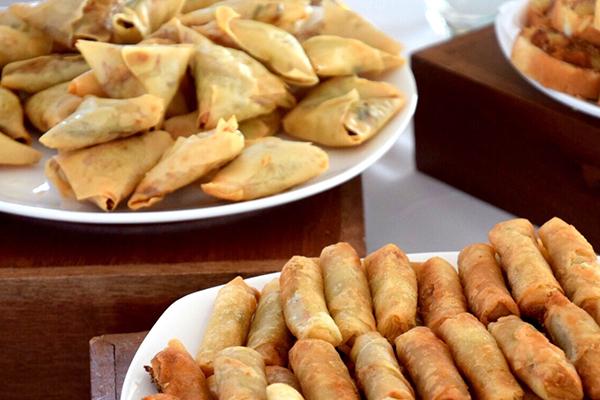 Samosas and spring rolls, Myanmar