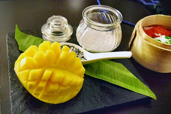 deconstructed sticky rice and mango dessert at Novotel Yangon Max