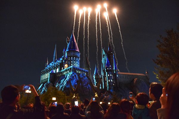 Expecto patronum night show at UNiversal Studios Wizarding World of Harry Potter Japan