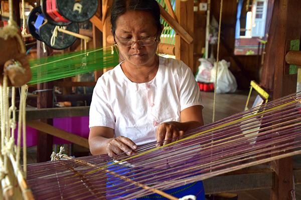 Weaving lotus silk at Inle Lake