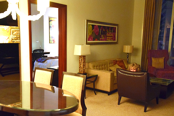 The reception area of the Fairmont Gold Corner Suite at Fairmont Makati