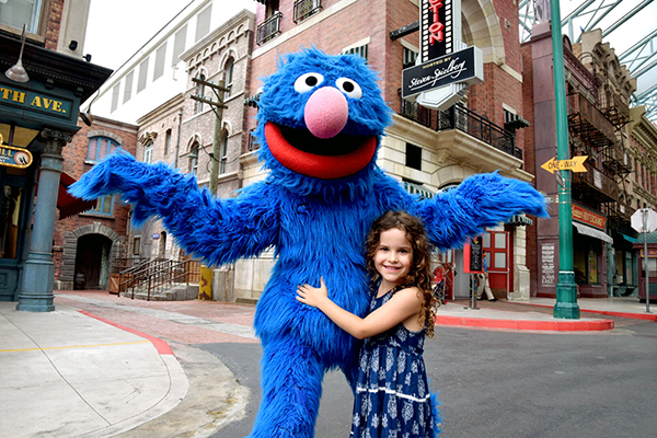 Grover and friend at Universal Studios Singapore with kids