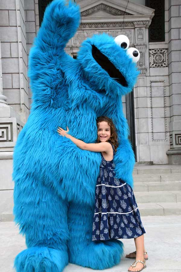 Cookie Monster at Universal Studios Singapore with kids