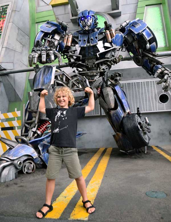Transformers at Universal Studios Singapore with kids
