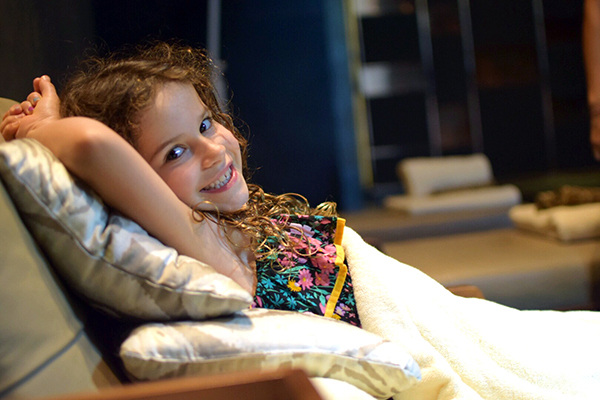 Sofitel Bali Nusa Dua with kids: SUgarpuff kicking back at So Spa