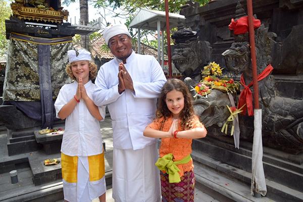 Bali by kids: Pak Mangku, the priest at Sofitel Bali Nusa Dua
