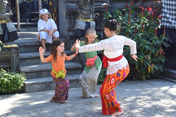 Kids learning Balinese dance at Sofitel Nusa Dua