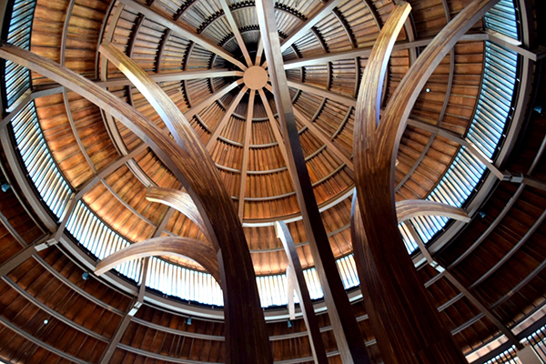 The soaring lobby of the Sofitel Bali Nusa Dua