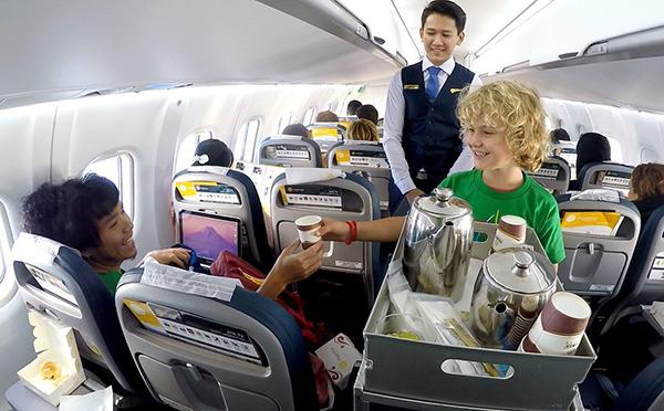 Pack snacks on flights for kids