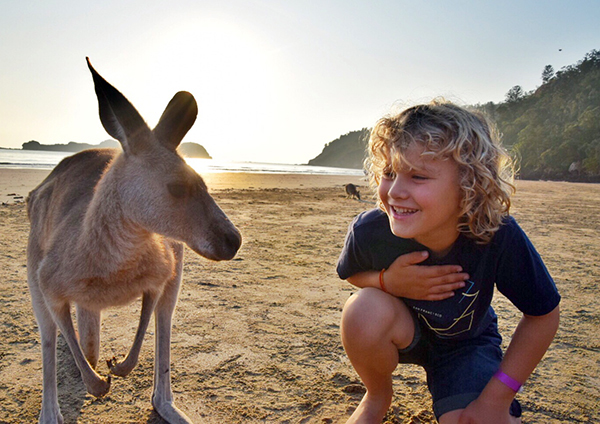 kids and kangaroo at Cape Hillsborough