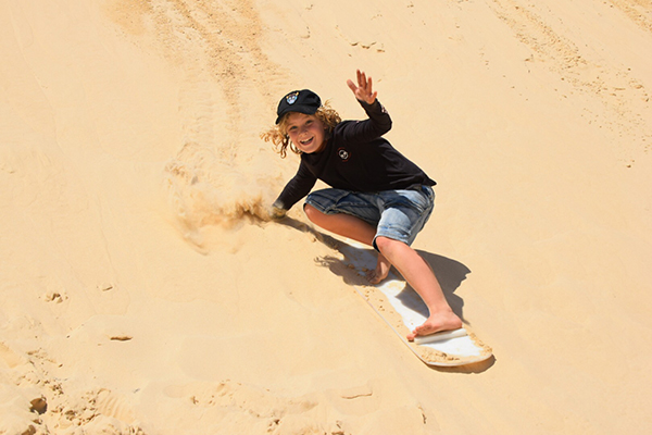FLying down the slopes at Stockton Beach with Sand Dune Safaris