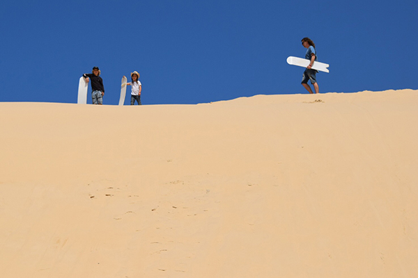 The crew readying themselves for some sand dune surfing