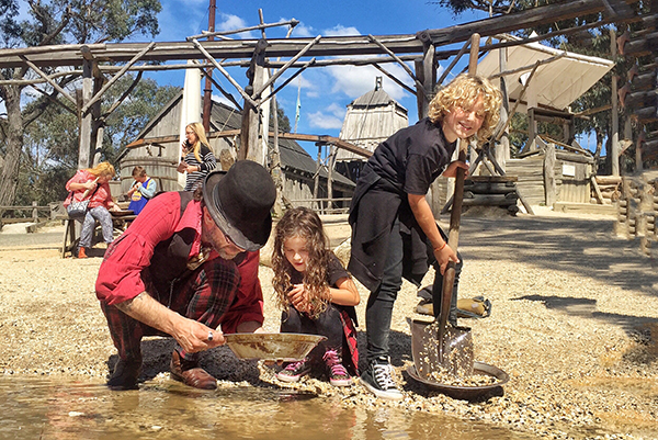 Kids panning for gold at family friendly Sovereign HIll
