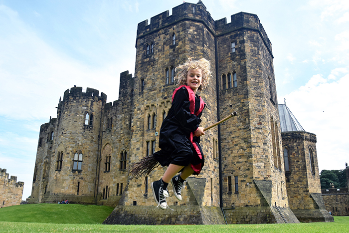 Broomstick training at Alnwick Castle, Which starred in the Harry Potter films