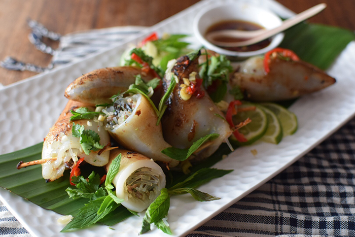 Cambodian barbecued squid stuffed with pork and herbs