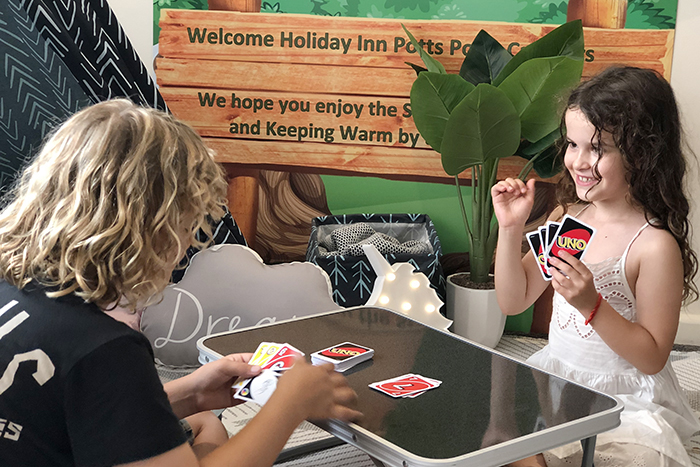 Playing games at Holiday Inn Potts Point Kids Glamp Out