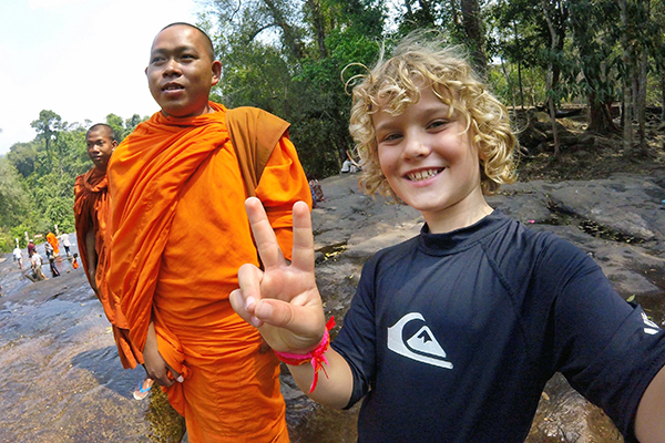Top tips for travelling with kids in Cambodia - no monks were harmed in the taking of this pic