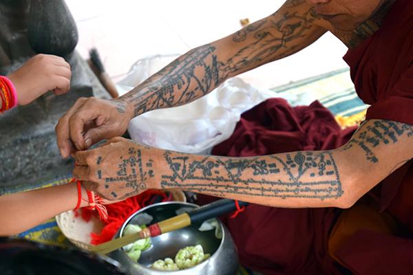 Phnom Kulen monk blessing