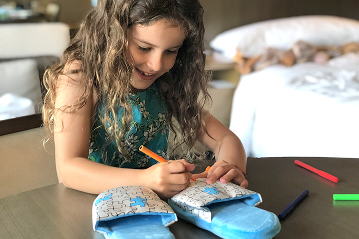 Colour in slippers are a hit at Park Hyatt Sydney with kids