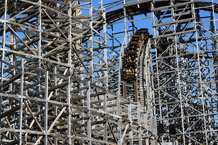 48 Hours in Houston with kids Kemah Boardwalk Boardwalk Bullet Wooden Roller Coaster