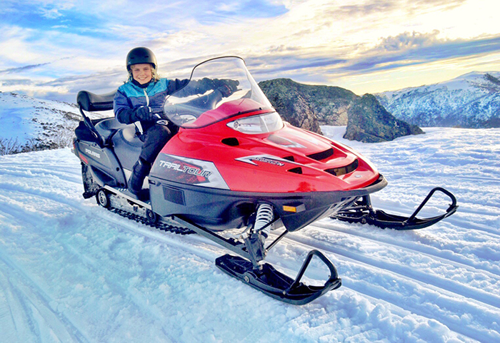Snowmobile tours at Falls Creek Resort with kids