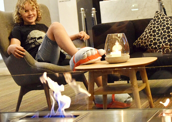 Kicking back by the fire at NOvotel Sydney Central