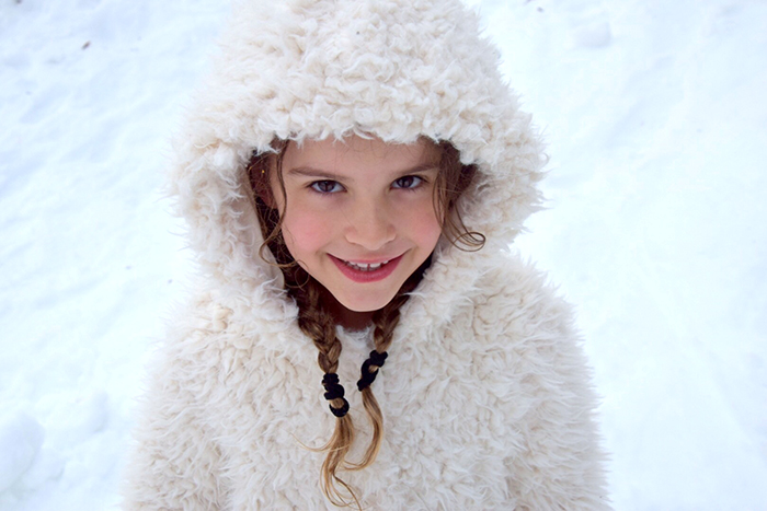 Little girl in the snow at Falls Creek