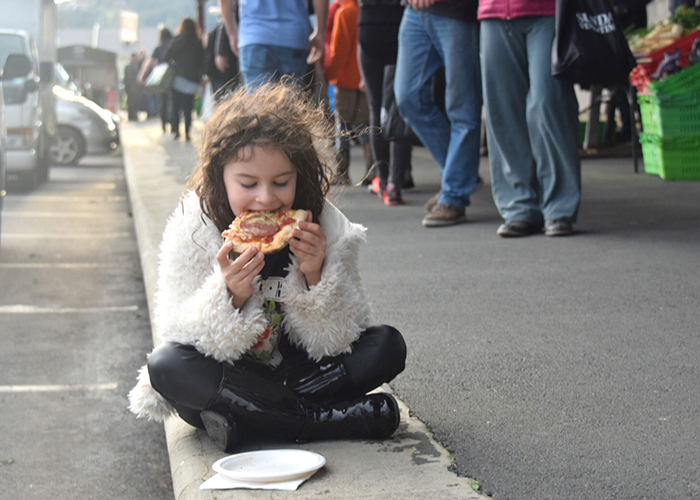 Pizza for breakfast at Otago Farmers market: Dunedin by kids