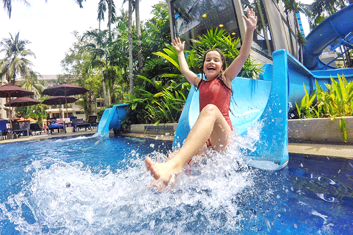 wicked water slides at Novotel Phuket Surin Resort with kids