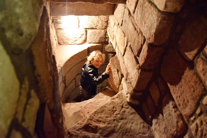 Bottle dungeon at Dalhousie Castle with kids