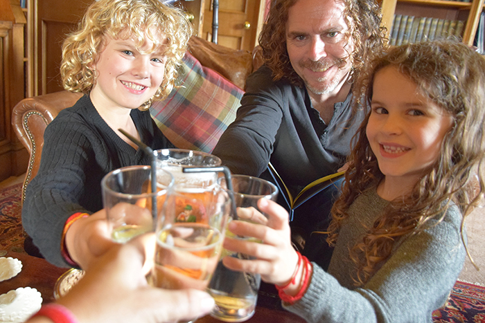 Pre-dinner drinks at Dalhousie Castle Edinburgh