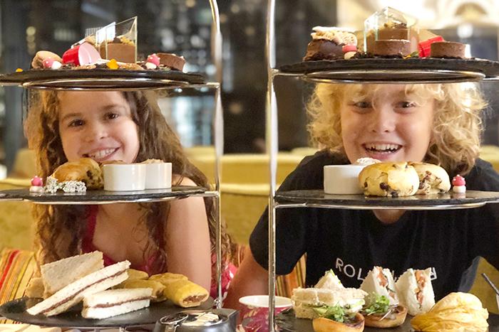 Happy kids enjoy a Chocolate High Tea at Radisson Blu Plaza Hotel Sydney