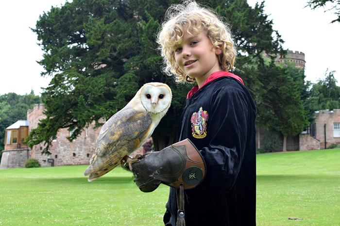 Kids with an owl at Dalhousie castle in Edinburgh