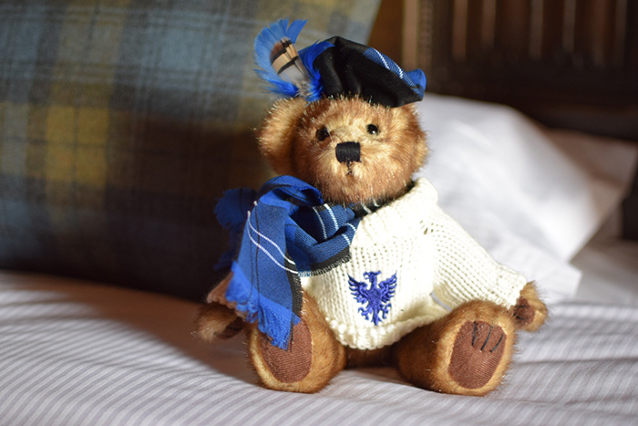 Gorgeous bear at Dalhousie Castle Hotel with kids