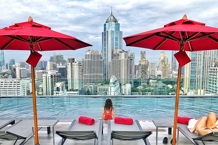 Teh view from the rooftop pool at Novotel Sukhumvit 4 - 39 things to do in Bangkok with kids