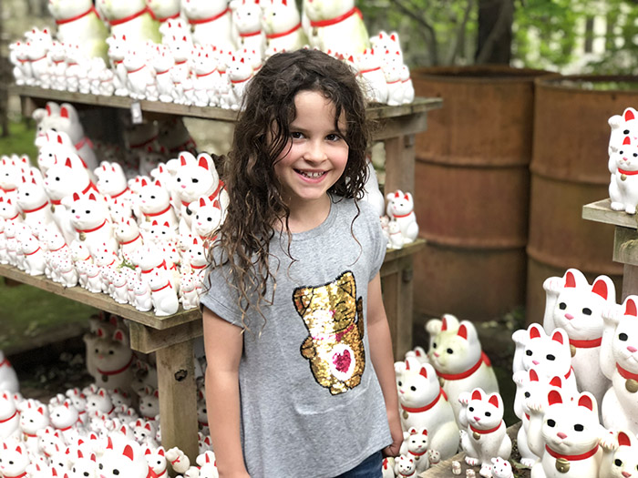 The Lucky Cat Temple in Tokyo with kids