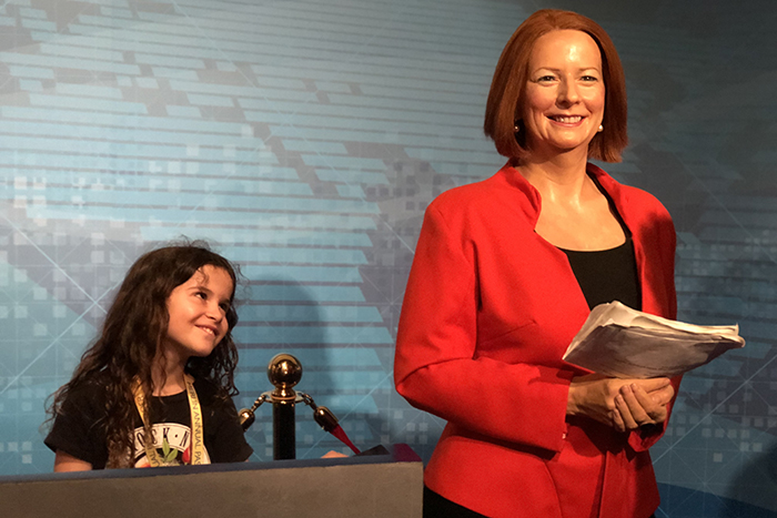 Sugarpuff for Prime MInister at Madame Tussauds Sydney with kids