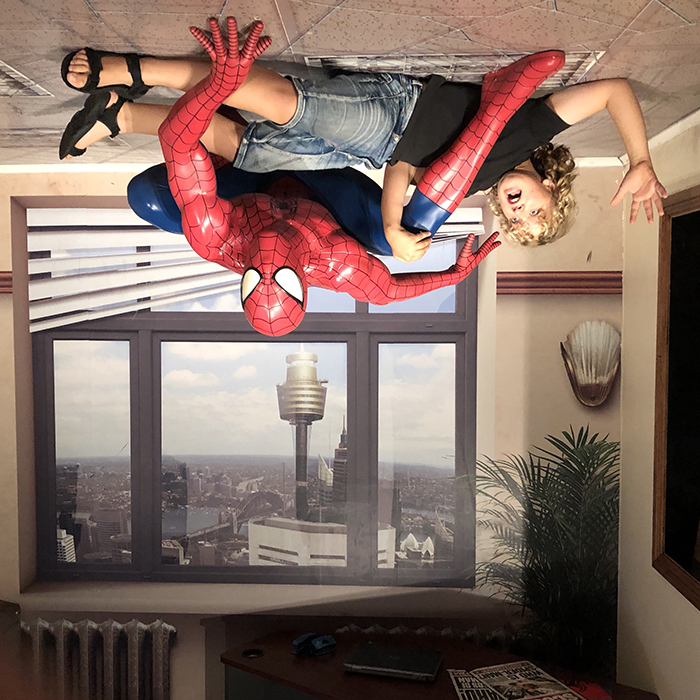 Spiderman at Madame Tussauds Sydney with kids