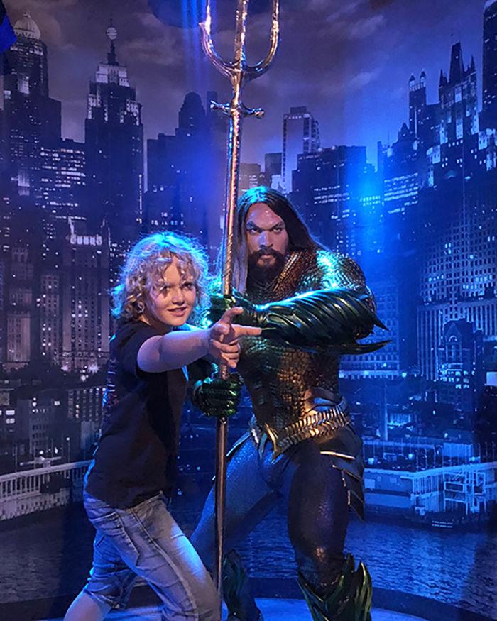 Aquaman at Madame Tussauds Sydney with kids