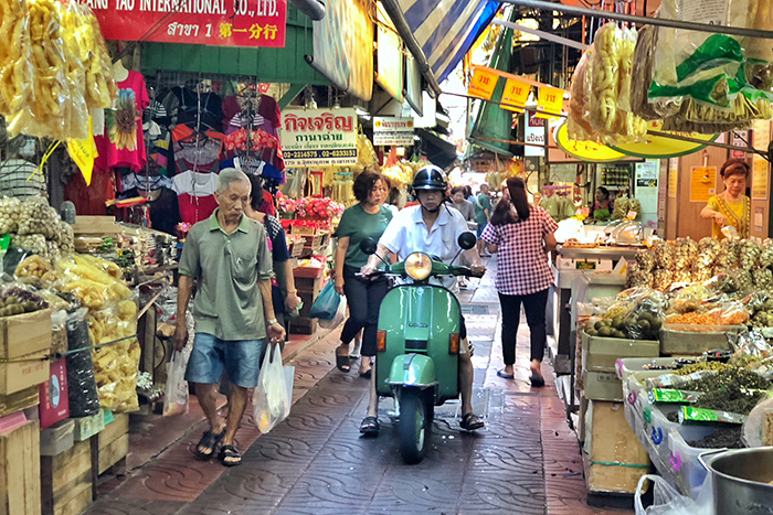 Market street in Chinatown in Bangkok