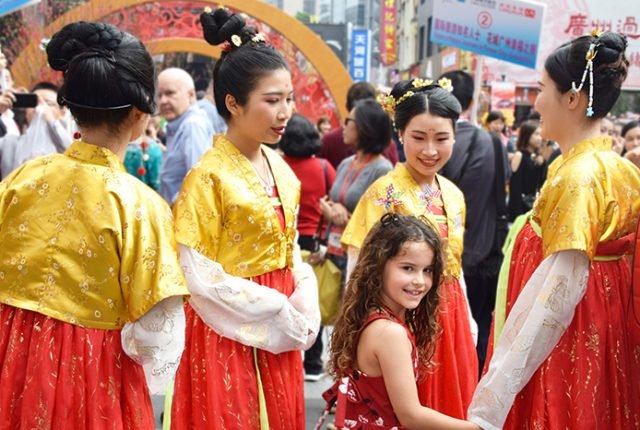 Ladies in traditional costume at Guanzhou Flower Market. The 25 best things to do in Guangzhou with kids